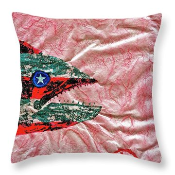 Gyotaku- 4th July - Spanish Mackerel- Bubble Gum Pink Throw Pillow by Jeffrey Canha