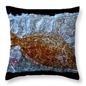 Gyotaku - Flounder - Fluke - Summer Flounder Throw Pillow
