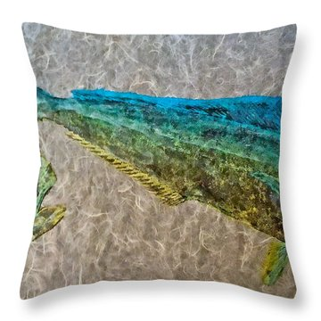 Gyotaku - Mahi Mahi - Dorado - Dolphinfish Throw Pillow