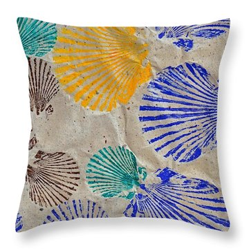 Gyotaku Scallops - Shellfish Apetite Sushi Throw Pillow