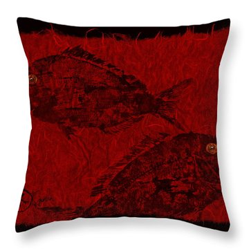 Gyotaku Scup Series 1  Red Unryu Paper Throw Pillow