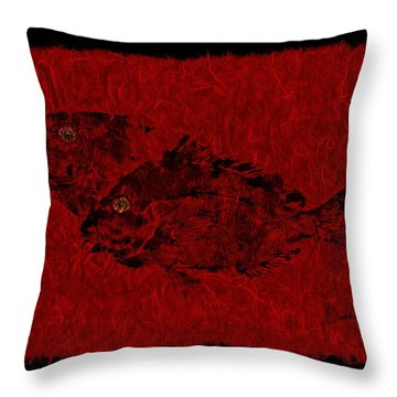 Gyotaku Scup Series 2  Red Unryu Paper Throw Pillow
