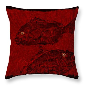 Gyotaku Scup Series 4 Red Unryu Paper Throw Pillow