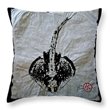 Gyotaku - Skate - Stingray  Throw Pillow