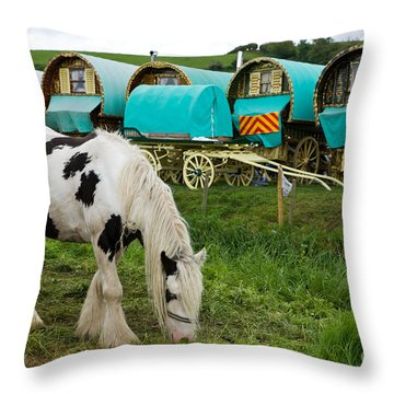 Gypsy Cob And Wagons Throw Pillow