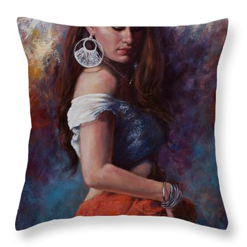 Gypsy Throw Pillow by Harvie Brown