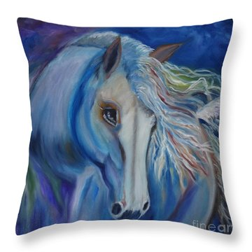 Throw Pillow featuring the painting Gypsy Shadow by Jenny Lee