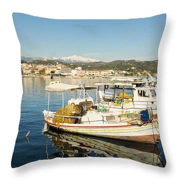 Gytheion Harbour Throw Pillow by Mike Santis