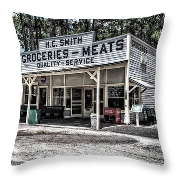 H C Smith's Groceries Heritage Village Throw Pillow by Michael White