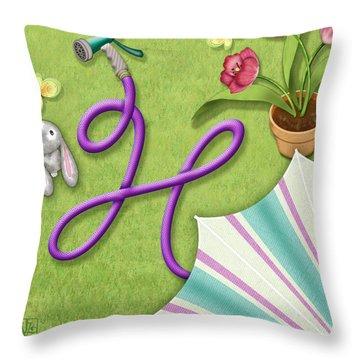 H Is For Garden Hose  Throw Pillow by Valerie Drake Lesiak