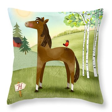 H Is For Henry The Horse Throw Pillow