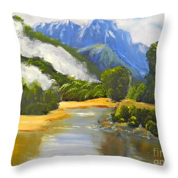 Throw Pillow featuring the painting Haast River New Zealand by Pamela  Meredith