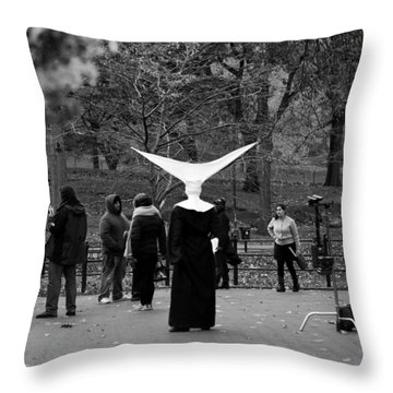 Habit In Central Park Throw Pillow by Lorraine Devon Wilke