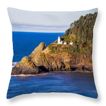 Haceta Head Lighthouse Throw Pillow