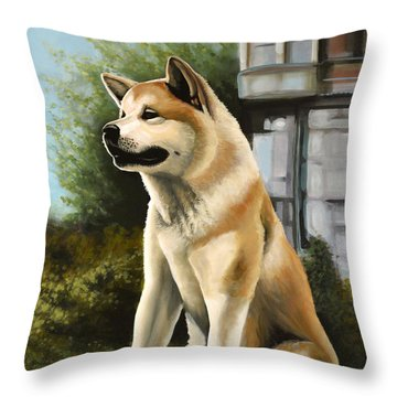Hachi Painting Throw Pillow