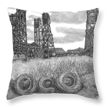 Hackensack River Train Bridge Throw Pillow