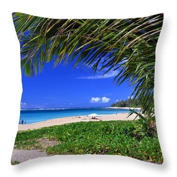 Haena Beach Turquoise Cove Throw Pillow by Marie Hicks