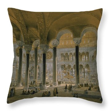Haghia Sophia, Plate 6 The North Nave Throw Pillow by Gaspard Fossati