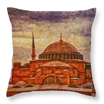 Hagia Sophia Digital Painting Throw Pillow by Antony McAulay
