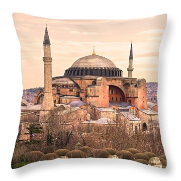 Hagia Sophia Mosque - Istanbul Throw Pillow by Luciano Mortula