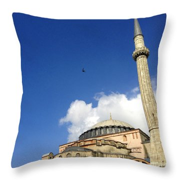 Hagia Sophia With Two Minarets Istanbul Turkey Throw Pillow by Ralph A  Ledergerber-Photography