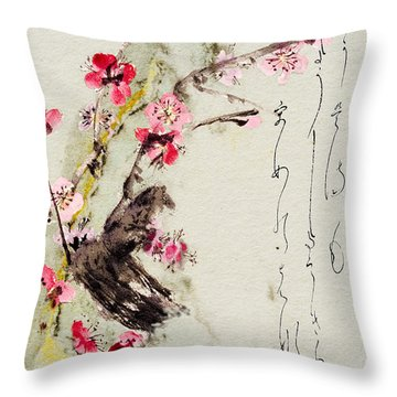 Throw Pillow featuring the painting Haiga My Spring Too Is An Ecstasy by Peter v Quenter