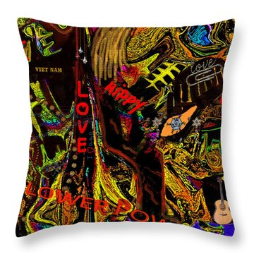 Throw Pillow featuring the digital art Flower Power Hippys Haight Ashbury Abstract by Sherri  Of Palm Springs