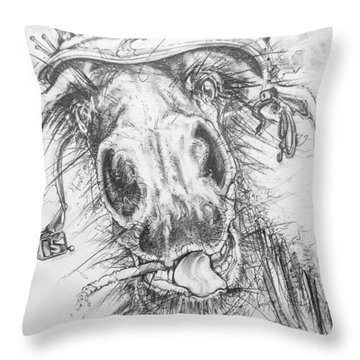 Hair-ied Horse Soilder Throw Pillow by Scott and Dixie Wiley