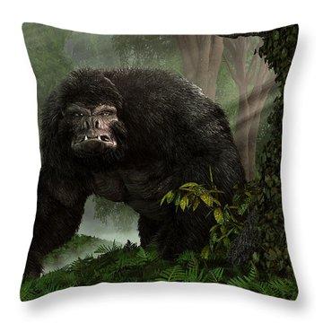 Hairy Beast Throw Pillow by Daniel Eskridge