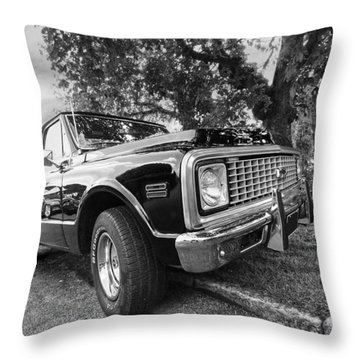 Halcyon Days - 1971 Chevy Pickup Bw Throw Pillow