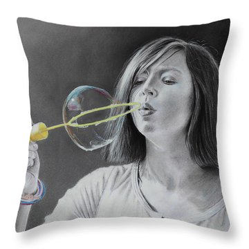 Bubble Girl Throw Pillow
