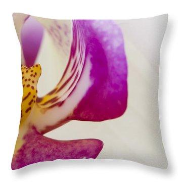 Half An Orchid Throw Pillow by Anne Gilbert