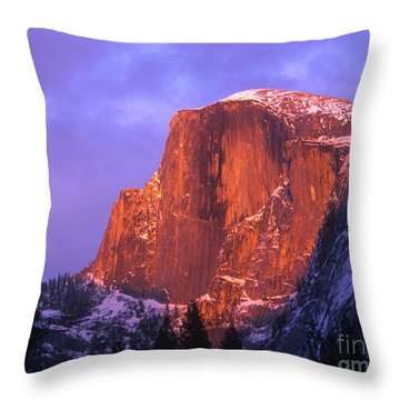 Half Dome Alpen Glow Throw Pillow by Jim And Emily Bush
