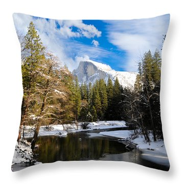 Half Dome In Winter Throw Pillow by Bonnie Fink