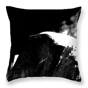 Half Dome In Winter Bw Throw Pillow