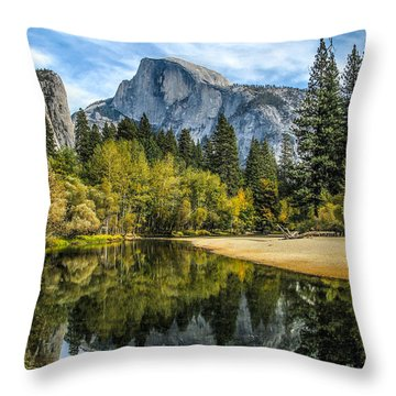 Half Dome Reflected In The Merced River Throw Pillow by John Haldane