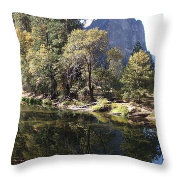 Throw Pillow featuring the photograph Half Dome Reflection by Richard Reeve