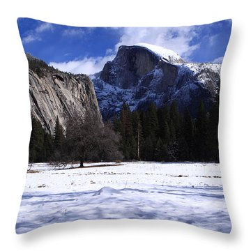 Half Dome Winter Snow Throw Pillow