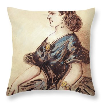 Half Length Portrait Of A Woman Wc And Ink On Paper Throw Pillow