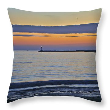 Half Moon Bay Under The Moon At Sunset Throw Pillow