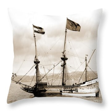Half Moon Re-entered Hudson River After An Absence Of 300 Years In Sepia Tone Throw Pillow