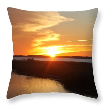 Throw Pillow featuring the photograph Half Sun Horizon by Robert Banach
