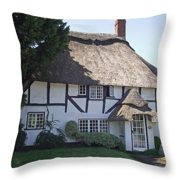 Half-timbered Thatched Cottage Throw Pillow