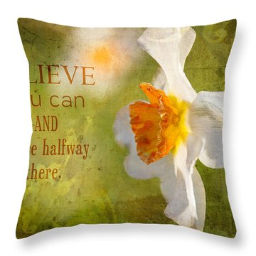 Halfway There With Message Throw Pillow