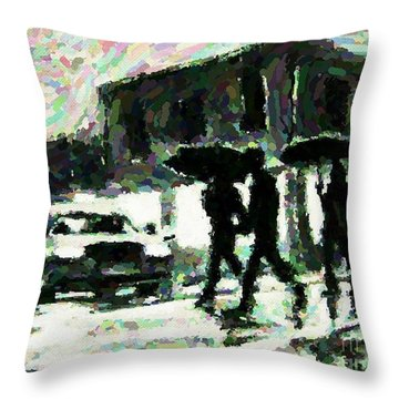 Halifax In The Rain One Throw Pillow by John Malone