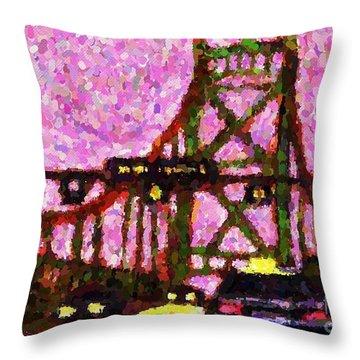 Halifax Macdonald Bridge Pointillist Throw Pillow by John Malone