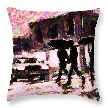 Halifax Nova Scotia On In The Rain Throw Pillow by John Malone johnmaloneartistcom