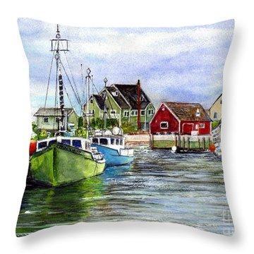 Peggys Cove Nova Scotia Watercolor Throw Pillow