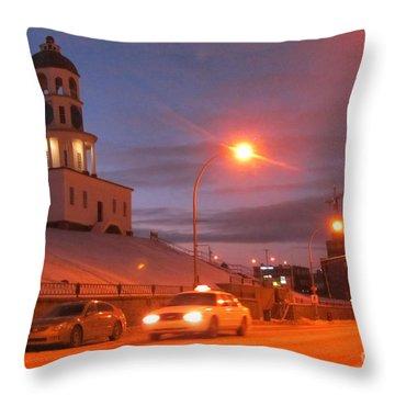 Halifax Town Clock In Halifax Nova Scotia Throw Pillow by Halifax photographer John Malone