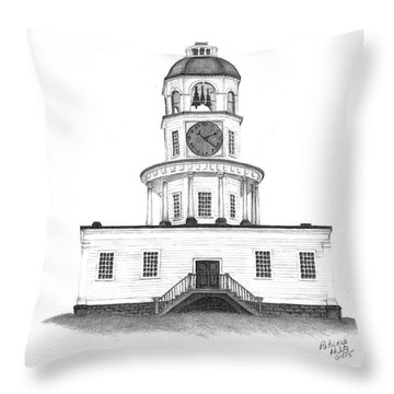 Throw Pillow featuring the drawing Halifax Town Clock by Patricia Hiltz